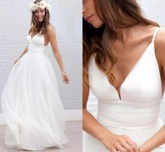 Discount 2017 Cheap Summer Beach Bohemian Sexy Wedding Dresses A Line V Neck Tulle Sweep Train Plus Size Backless Formal Bridal Gowns Under 100 Vintage Wedding Dresses Online Wedding Dress A Line From Yes_mrs, $92.47| Dhgate.Com