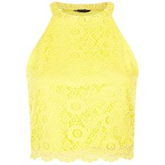Yellow Floral Lace Scallop Hem Crop Top ($20) ❤ liked on Polyvore featuring tops, crop tops, shirts, soft yellow, floral shirt, slim fit shirts, yellow shirt, shirts & tops and yellow lace top