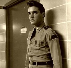 Private Presley outside of His mother's hospital room.
