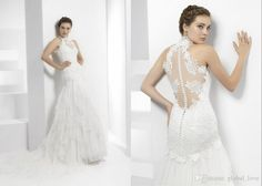 New Vintage 2016 Mermaid Wedding Dresses High Neck Lace And Tulle Ball Gown Halter Wedding Dress Tiered Designer Wedding Gown Bridal Dress Wedding Dress Sale Wedding Dresses For Sale From Global_love, $127.04  Dhgate.Com
