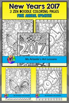 Ring in the New Year with 2017 Coloring Pages! Surprise your students with 3 zentangle, 2017 coloring pages to allow for educational, mindful coloring in your classroom. FREE ANNUAL UPDATES! Each year I will add 3 more coloring pages to this product for the upcoming year. Simply download the update each year to receive the new additions! All coloring pages are hand drawn by Ms Artastic with love and care.
