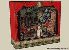 The Fairy Playhouse Theater Paper Model - by Frances Delehanty - via Hedgehog Studio - Free Papercraft Templates.