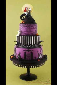 Nightmare Before Christmas - Purple and Black wedding cake
