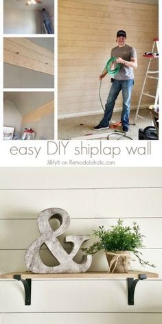 Easy DIY Shiplap Wall Tutorial -- an inexpensive way to add character or cover up damaged walls. Remodelholic