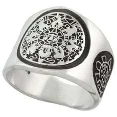 Sterling Silver Aztec Calendar Men's Ring Mayan Sun on each side, 18mm wide Sabrina Silver. $47.95
