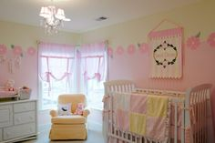Sunny Pink and Yellow Nursery  By Sherri Blum, CID of Jack and Jill Interiors. Products available at Jack and Jill Boutique.