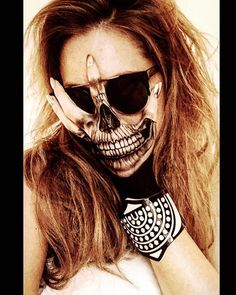 'THE HANGOVER SKULL': I was too hungover to paint my face so settled on some hand art instead. Vanessa Davis