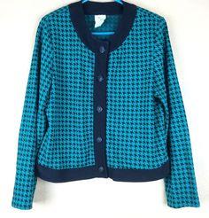 Weekendes Teal & Black Cotton Blend Houndstooth Cardigan Sweater  M #Weekenders #Cardigan