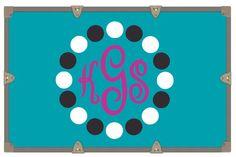 Yeti Decal/ Camp Trunk Decals/ Cursive Monogram Decal/ Vinyl Sticker/ Black White Magenta Circle Dot Monogram/Monogram Decal by RusticGraceCo on Etsy