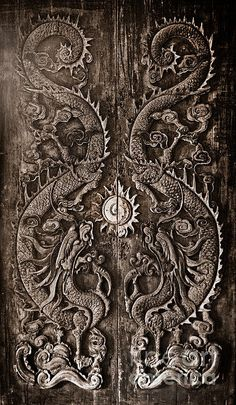 Antique Wooden Door Sculpt A Dragon God The Age Of Approximately 200 Years In The Ancient City Print By Noppharat Manakul