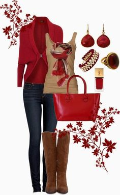 see more Amazing Red Cardigan with Jeans, Leather Long Boots, Scarf, T-Shirt, Red Handbag and Accessories, Love It