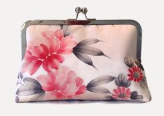 Floral Silk Clutch Purse, Pink Clutch Bag, Bridesmaid Clutch Purse, Bridal Clutch Purse, Pink Kiss Lock Purse, Frame Purse, Bridal Bag by SimplySilkScarves on Etsy