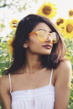 sunflower field summer photoshoot / yellow acrylic sunglasses | Instagram: hamelpatel_
