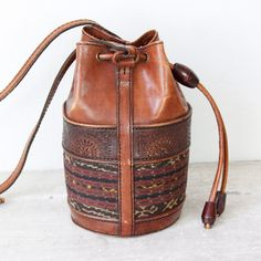 Ikat leather drawstring bag