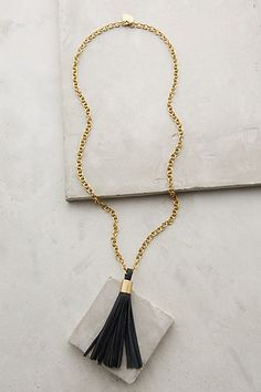 "Hedda Tassel Necklace - anthropologie.com - 28"" L brass chain with 3.75"" leather tassel pendant"