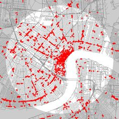 What your city looks like when nearly every store is mapped  - This also explains why New York City feels so exciting and St. Louis does not.
