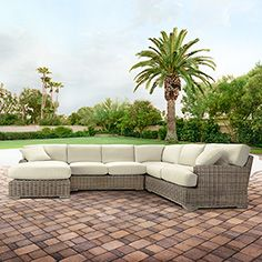 "Wyatt Outdoor 132"" Four Piece Sectional in Weathered Grey - Arhaus outdoor Pinterest contest"