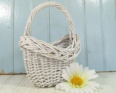 Vintage Oval White Woven Wicker Basket  Wedding by DivineOrders, $14.00