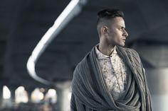MSFW Emerging runway 2016 -  Sustainable menswear collection - Original print design -double texture merino wool scarf and leggings -  #menswear #sustainable #textiledesigner #floralprints #texturedfabric #handknittedjumper