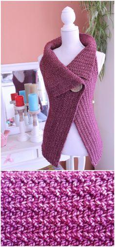 Cardigan Button Wrap Free Crochet Pattern