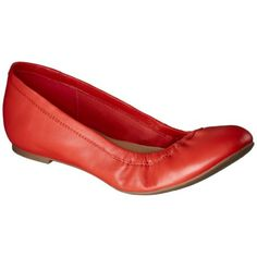 Women's Merona® Genuine Leather Scrunch Flat - Orange (orange?! It looks red. Note to self, Don't buy online...)