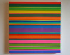Untitled by Pablo Manga, 2011. Layered semi-transparent tape on wood panel #home #homedecor #decoration #art #stripes