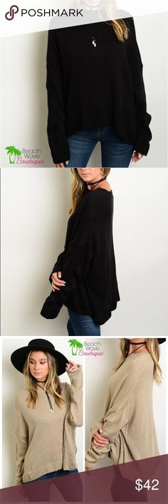 """Black Boyfriend Pullover Sweater Boyfriend style fit long sleeve knit sweater. One size fits most. ALSO AVAILABLE IN KHAKI and WINE   **** This listing is for Black  100% Acrylic  Measurements:        Bust: 36""""        Length: 24"""" Beach Wave Sweaters"""