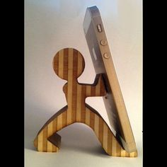 Our striped Pushman handmade of Baltic birch wood cell phone holder. Wood Turning Projects, Wood Projects, Woodworking Projects, Woodworking Forum, Woodworking Bench, Youtube Woodworking, Woodworking Basics, Woodworking Joints, Woodworking Patterns