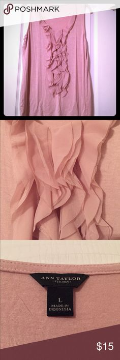 Ann Taylor EUC Sleeveless Top Size Large Ann Taylor EUC Dusty Pink Sleeveless Top with Cascading Tulle from neckline to front hem. Gently worn and cared for. No holes or tears. Size Large. Bundle and Save 💰🛍🛒📦📫 Ann Taylor Tops Blouses