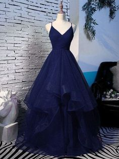 A Line Prom Dresses Evening Dress Spaghetti Straps Back Neck Long Dark . - A Line Prom Dresses Evening Dress Spaghetti Straps Back Neck Long Dark Blue Tulle With Ruffles – - Pretty Prom Dresses, A Line Prom Dresses, Beautiful Dresses, Dark Blue Prom Dresses, Grad Dresses Long, Blue Evening Dresses, Prom Dresses Long With Sleeves, Dresses For Balls, Formal Prom Dresses