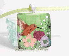 Lily Pang - Humming bird blossom green abstract flower garden art square glass pendant