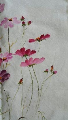 광목천에 그린 코스모스꽃 : 네이버 블로그