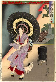 Chikanobu_Yoshu-24_Paragons_of_Filial_Piety-14_Woman_walking_in_the_rain_looking_at_a_rickshaw-00033888-080819-F12.jpg (818×1200)