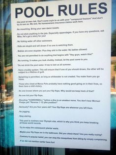 Funny pool rules sign.