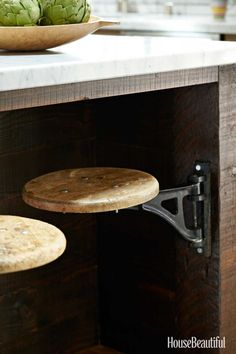In Dan Doyle's St. Helena, California, kitchen, vintage swivel stools can be tucked completely out of the way, which saves a lot of space.