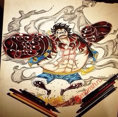 "Monkey D Luffy gear 4 from One Piece.  Hi mina  Opss sorry for the bad result. It took 7uhr i hope u like it. Drawing with my lovely Prisma❤️ colors. Check out my youtube channel where u can lern painting and drawing just search on youtube ""marish.ru"" channel there are my all drawings video."