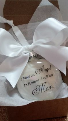 Mother Memorial Ornament- In Memory of Mama at Christmas- Angel in Heaven, I call her Mom- Loss of Parent Gift- Sympathy Memory Bauble Momma by ShopCreativeCanvas on Etsy