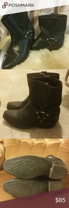 Black motorcycle harness ankle boots Good used condition...feel like quality remind me of Frye Other