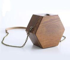 New-Women-Retro-Wood-Handmake-Hexagonal-Chain-Messenger-shoulder-bag