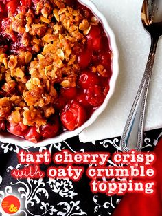 Tart Cherry Crisp with Oaty Crumble Topping: Lots of sweet-tart cherries covered with a crunchy brown sugar and oat crumble! Lots of back-to-school nostalgia!