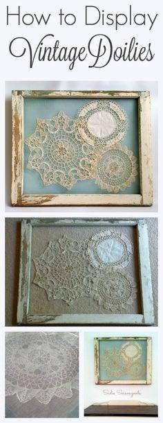 Displaying vintage antique crochet doilies in a salvaged window frame by Sadie Seasongoods / www.sadieseasongoods.com