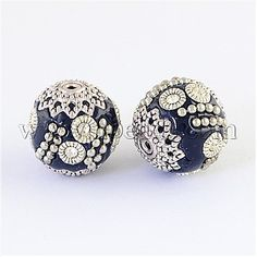 [US $5.45]15mm MidnightBlue Round Indonesia Beads(IPDL-R408-07) - Round Handmade Indonesia Beads, With Rhinestones And Alloy Cores, Antique Silver, MidnightBlue, 15x15mm, Hole: 1mm