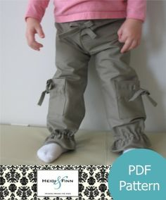 Girly Cargo Pants pattern and tutorial 12M5T PDF par heidiandfinn, $6,00