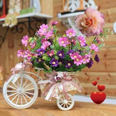 ༺✿ Flower Pedals ✿༻ ༺✿ Baskets of Flowers Riding Bicycles ✿༻ Bicicleta con flores Flower Decorations, Wedding Decorations, Table Decorations, Fleurs Diy, Romantic Cottage, Ikebana, Vintage Flowers, Pink Flowers, Colorful Flowers