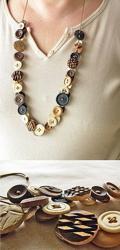 button necklace tutorial--Suzanne, today I was thinking about your idea of button confetti and I told Dad you (or you could ask Aunt Laurie!) could make a necklace out of buttons. Then my cousin pinned this on her wall. It would be a perfect way to keep a keepsake from your wedding.