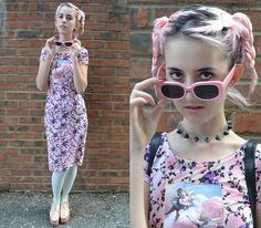 Giant Vintage Sunglasses Kitten Pink, Wewa Floral Dress, Jeffrey Campbell Platform Oxfords