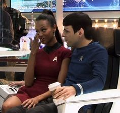 Spock and Uhura get coffee
