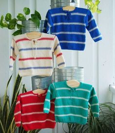 Striped Children's Sweater - Pattern – I Wool Knit Baby Boy Knitting Patterns, Kids Patterns, Knitting For Kids, Free Knitting, Baby Boy Sweater, Baby Sweaters, Baby Barn, Baby Sewing, Kids Outfits