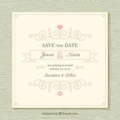 Ornamental wedding card Free Vector