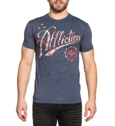 """DETAILS  • Affliction SS Mocktwist Crew Neck  • White Coverstitch Up Side Seams  • Crackle Ink  • Vintage Blue Wash CONTENT AND CARE  • 55% Cotton / 45% Polyester  • Machine Wash Cold  • Made in USA MODEL  • Height = 5'11""""  • Chest = 41""""  • Waist = 32""""  • Wearing size medium"""